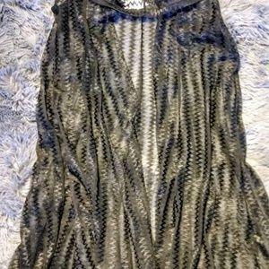 iHeartRaves Black Mesh Hooded Vest Cardigan